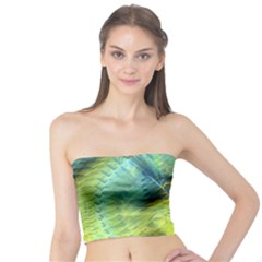 Light Blue Yellow Abstract Fractal Tube Top by designworld65