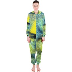 Light Blue Yellow Abstract Fractal Hooded Jumpsuit (ladies)  by designworld65