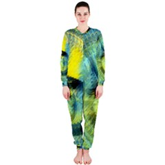 Light Blue Yellow Abstract Fractal Onepiece Jumpsuit (ladies)  by designworld65