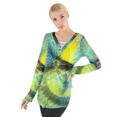 Light Blue Yellow Abstract Fractal Women s Tie Up Tee by designworld65