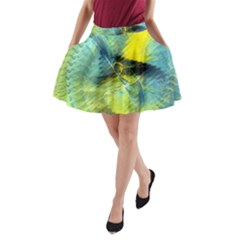 Light Blue Yellow Abstract Fractal A Line Pocket Skirt by designworld65