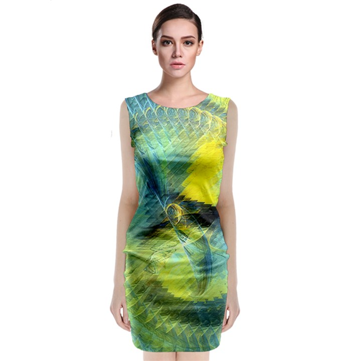 Light Blue Yellow Abstract Fractal Classic Sleeveless Midi Dress