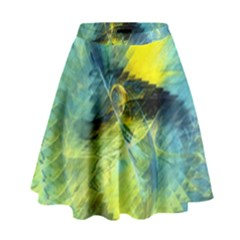 Light Blue Yellow Abstract Fractal High Waist Skirt by designworld65