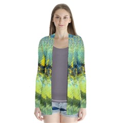 Light Blue Yellow Abstract Fractal Drape Collar Cardigan by designworld65