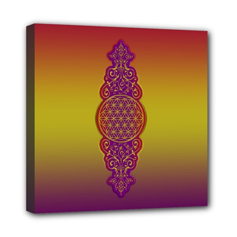 Flower Of Life Vintage Gold Ornaments Red Purple Olive Mini Canvas 8  X 8  by EDDArt