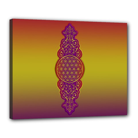 Flower Of Life Vintage Gold Ornaments Red Purple Olive Canvas 20  X 16  by EDDArt