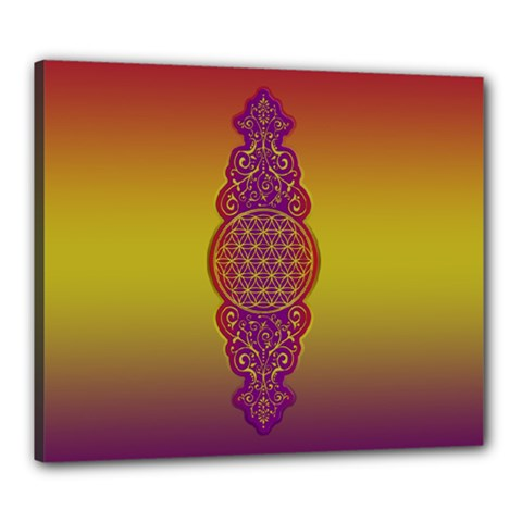 Flower Of Life Vintage Gold Ornaments Red Purple Olive Canvas 24  X 20  by EDDArt