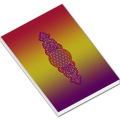 Flower Of Life Vintage Gold Ornaments Red Purple Olive Large Memo Pads by EDDArt