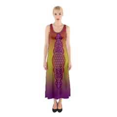 Flower Of Life Vintage Gold Ornaments Red Purple Olive Sleeveless Maxi Dress by EDDArt
