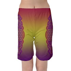 Flower Of Life Vintage Gold Ornaments Red Purple Olive Kids  Mid Length Swim Shorts by EDDArt