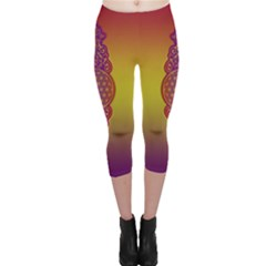 Flower Of Life Vintage Gold Ornaments Red Purple Olive Capri Leggings  by EDDArt