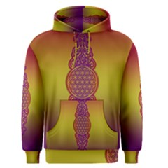 Flower Of Life Vintage Gold Ornaments Red Purple Olive Men s Pullover Hoodie by EDDArt