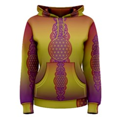 Flower Of Life Vintage Gold Ornaments Red Purple Olive Women s Pullover Hoodie
