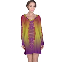 Flower Of Life Vintage Gold Ornaments Red Purple Olive Long Sleeve Nightdress by EDDArt