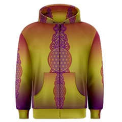 Flower Of Life Vintage Gold Ornaments Red Purple Olive Men s Zipper Hoodie by EDDArt
