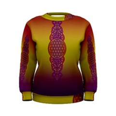Flower Of Life Vintage Gold Ornaments Red Purple Olive Women s Sweatshirt by EDDArt