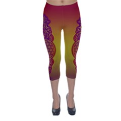 Flower Of Life Vintage Gold Ornaments Red Purple Olive Capri Winter Leggings