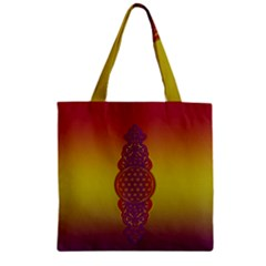 Flower Of Life Vintage Gold Ornaments Red Purple Olive Zipper Grocery Tote Bag by EDDArt