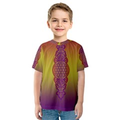 Flower Of Life Vintage Gold Ornaments Red Purple Olive Kids  Sport Mesh Tee by EDDArt