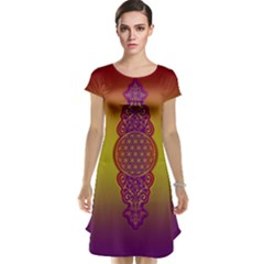 Flower Of Life Vintage Gold Ornaments Red Purple Olive Cap Sleeve Nightdress by EDDArt