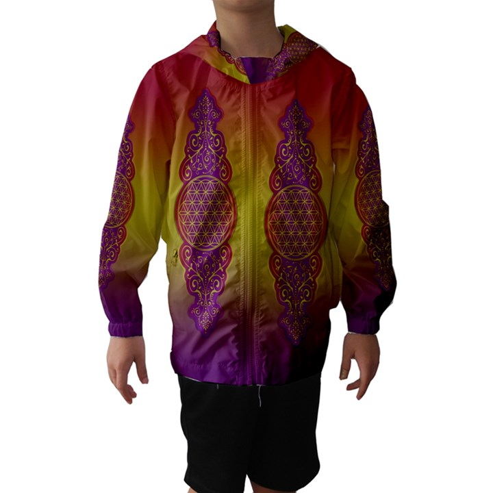 Flower Of Life Vintage Gold Ornaments Red Purple Olive Hooded Wind Breaker (Kids)