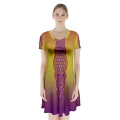 Flower Of Life Vintage Gold Ornaments Red Purple Olive Short Sleeve V Neck Flare Dress by EDDArt