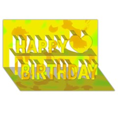 Simple Yellow Happy Birthday 3d Greeting Card (8x4) by Valentinaart