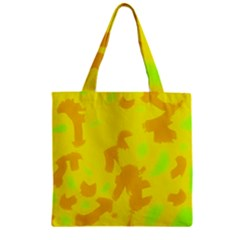 Simple Yellow Zipper Grocery Tote Bag by Valentinaart