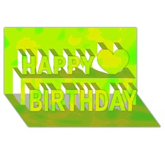 Simple Yellow And Green Happy Birthday 3d Greeting Card (8x4) by Valentinaart