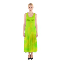 Simple Yellow And Green Sleeveless Maxi Dress