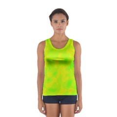 Simple Yellow And Green Women s Sport Tank Top  by Valentinaart