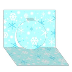 Blue Xmas Pattern Circle 3d Greeting Card (7x5) by Valentinaart