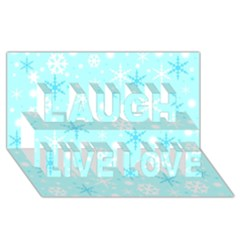 Blue Xmas Pattern Laugh Live Love 3d Greeting Card (8x4)