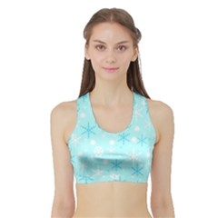 Blue Xmas Pattern Sports Bra With Border by Valentinaart