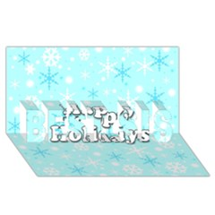 Happy Holidays Blue Pattern Best Sis 3d Greeting Card (8x4) by Valentinaart