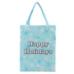 Happy Holidays Blue Pattern Classic Tote Bag