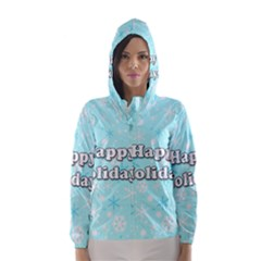 Happy Holidays Blue Pattern Hooded Wind Breaker (women)