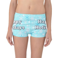 Happy Holidays Blue Pattern Boyleg Bikini Bottoms