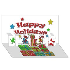 Happy Holidays   Gifts And Stars Best Sis 3d Greeting Card (8x4) by Valentinaart