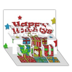 Happy Holidays   Gifts And Stars Miss You 3d Greeting Card (7x5) by Valentinaart
