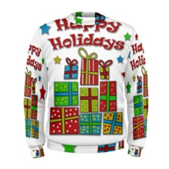 Happy Holidays   Gifts And Stars Men s Sweatshirt by Valentinaart