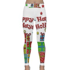 Happy Holidays   Gifts And Stars Yoga Leggings  by Valentinaart