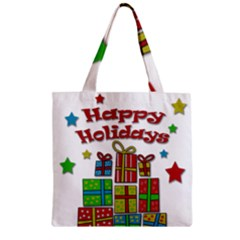 Happy Holidays   Gifts And Stars Zipper Grocery Tote Bag