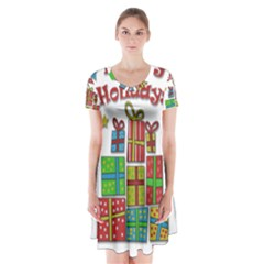 Happy Holidays   Gifts And Stars Short Sleeve V Neck Flare Dress by Valentinaart