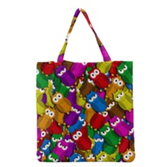 Cute Owls Mess Grocery Tote Bag by Valentinaart
