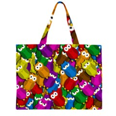 Cute Owls Mess Zipper Large Tote Bag by Valentinaart