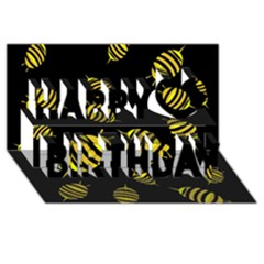 Decorative Bees Happy Birthday 3d Greeting Card (8x4)