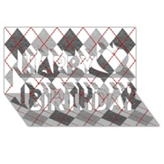 Fabric Texture Argyle Design Grey Happy Birthday 3d Greeting Card (8x4) by AnjaniArt