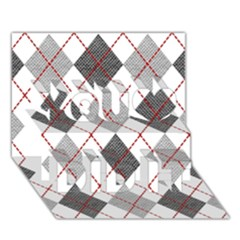 Fabric Texture Argyle Design Grey You Did It 3d Greeting Card (7x5) by AnjaniArt