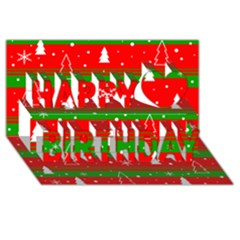 Xmas Pattern Happy Birthday 3d Greeting Card (8x4) by Valentinaart